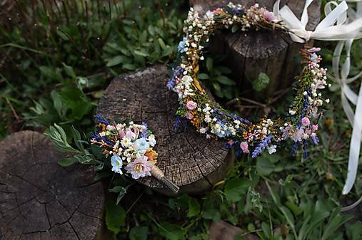 Meadowy flower hair wreath with lavender Bridal hair crown Wedding hair crown Flower crown Magaela accessories Bridal accessories Handmade