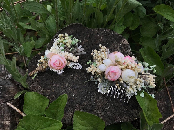 Flower Hair comb floral cream pink fairy hair flowers wedding comb bridal hair fashion accessories barn wedding woodland style baby's breath