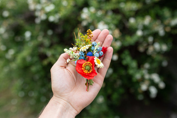 Folk flower boutonniere Wedding boutonniere Accessories for groom Poppy boutonniere Handmade groom's boutonniere Wedding accessories