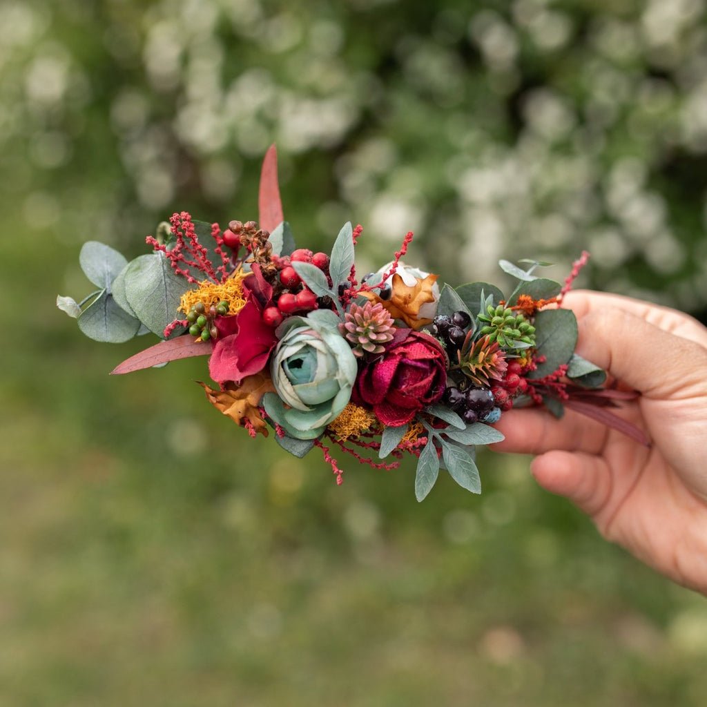Autumn flower quarter wreath Wedding wreath Fall colours Wedding accessories Magaela Berries Green Accessories Woodland wedding Handmade