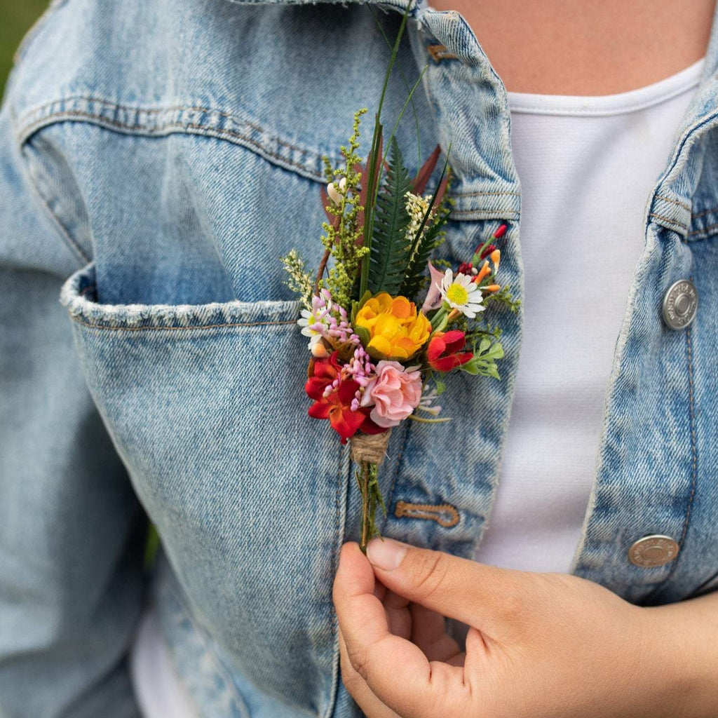 Summer groom's boutonniere Wedding buttonhole Flower boutonniere for groom Romantic wedding Summer wedding Magaela accessories Handmade