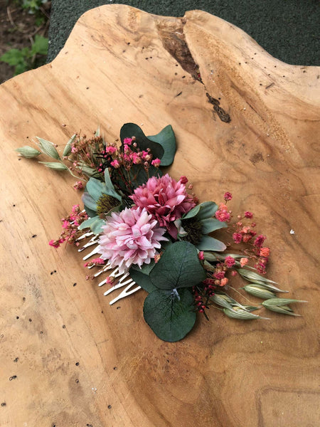 Pink wedding hair comb Bridal flower comb Magaela accessories Romantic flower jewellery Eucalyptus and Baby's breath comb Wedding 2021