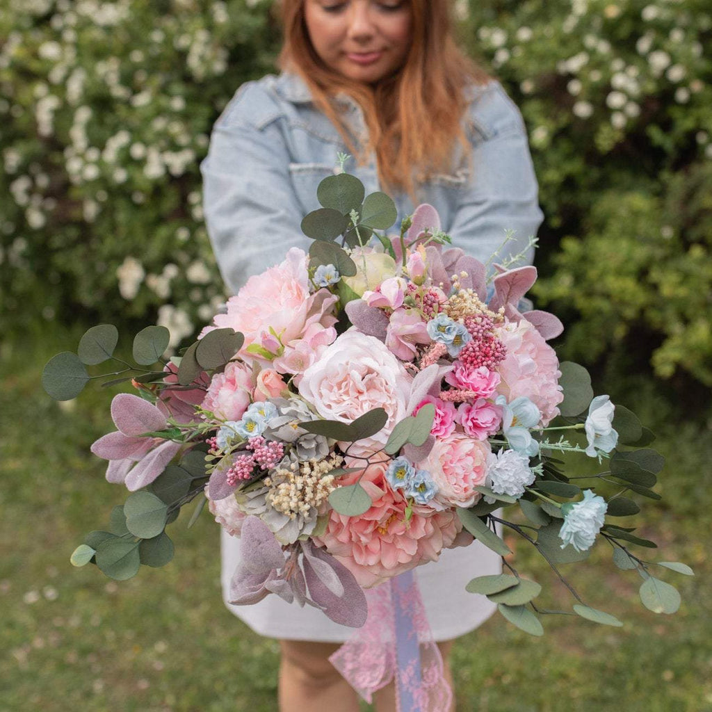 Blush and mint wedding bouquet Bridal bouquet Dusty pink bouquet Romantic Flower bouquet Pastel wedding bouquet Boho wedding Handmade