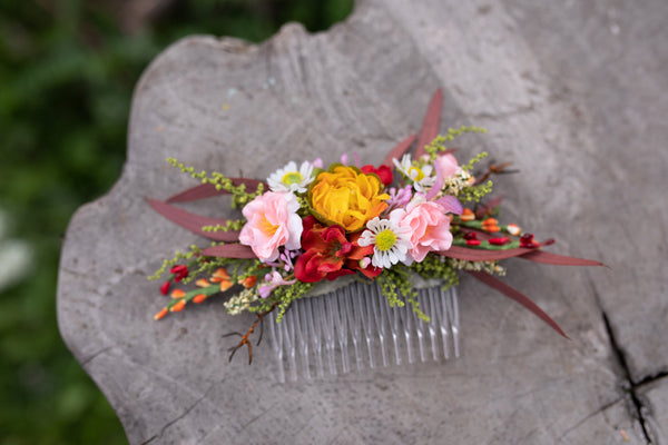 Summer wedding hair comb Flower decorative comb Bridal accessories Summer hair comb for bride Magaela accessories Hair accessories Handmade