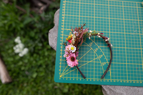 Colourful summer flower headband Bridal hairband Wedding flower headband Bridal accessories Hair band for bride Handmade Magaela accessories