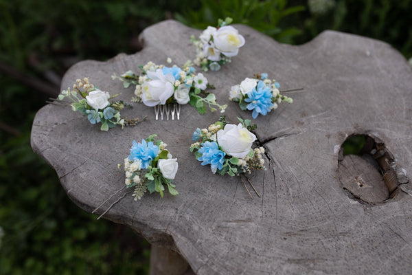 Blue and white wedding set of hair accessories Jewelry hair set Bridal flower jewellery Hair flowers Hair pins Flower hair comb Magaela