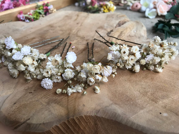 Off white wedding flower comb Beige bridal hair comb Decorative baby's breath comb Flower accessories Magaela Preserved flowers Bridal comb