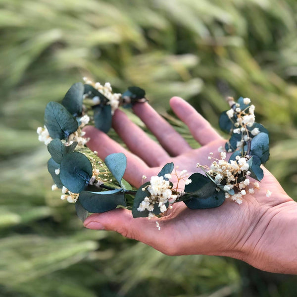 Greenery flower wreath with baby's breath Flower half crown with eucalyptus Bridal hair wreath Wedding half wreath Magaela accessories