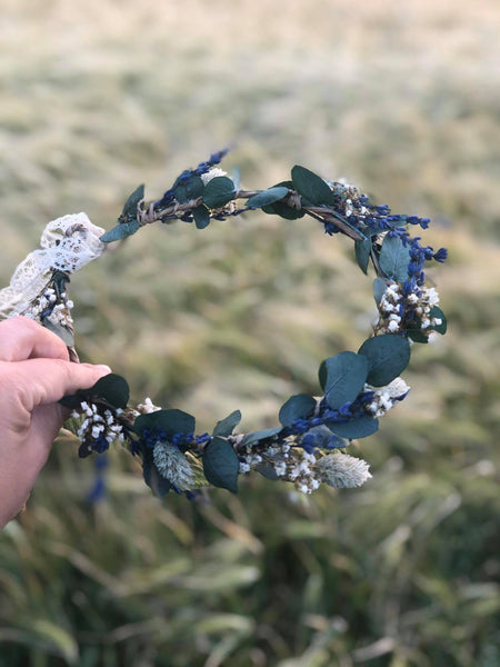 Greenery flower wreath with baby's breath lavender Flower crown with eucalyptus Bridal hair wreath Wedding wreath Magaela accessories