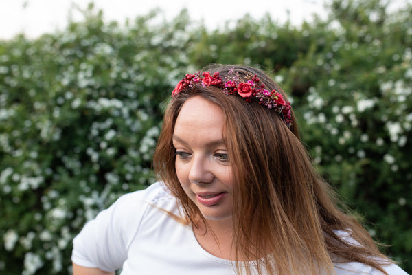 Red flower wreath with berries Wedding half wreath Bridal accessories Hair crown for bride Magaela accessories Bridal half wreath Headpiece