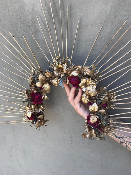 Gold halo headpiece crown Sun crown Headband Goddess Wedding accessories Bridal crown Photoshoot halo wreath Spike crown Beyonce Magaela