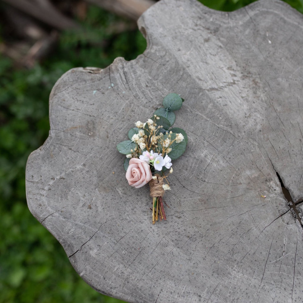 Romantic groom's boutonniere Dusty pink wedding buttonhole Flower accessories Blush rose boutonniere Handmade Bestman boutonniere Groomsman