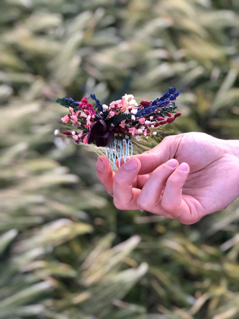 Burgundy flower mini hair comb Wedding flower comb Decorative Romantic style Bridal hair comb Magaela Bridal accessories Flowers Lavender