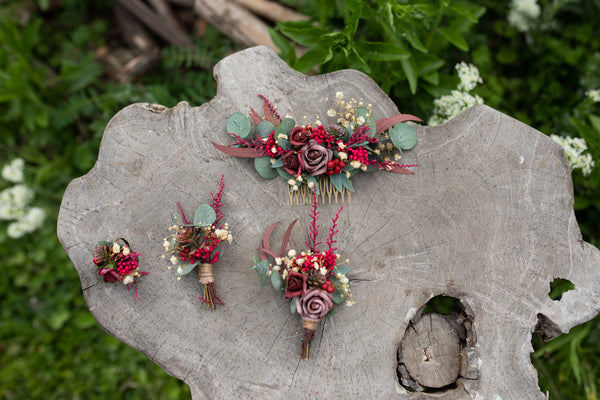 Burgundy wedding hair comb Bridal flower comb Magaela accessories Red wine flower jewellery Dark red roses Eucalyptus and Baby's breath comb