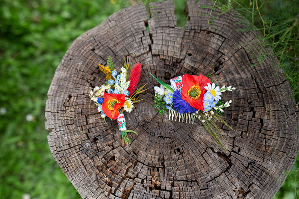 Folk wedding hair comb Bridal flower comb Magaela accessories Colourful flower jewellery Poppy flower Forget me nots and Baby's breath comb