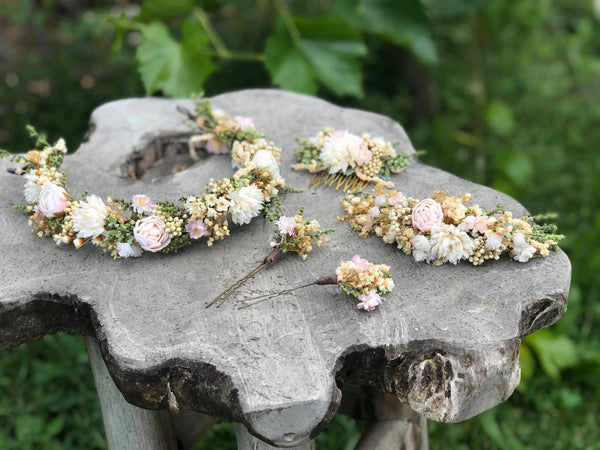 Wedding flower wreath Quarter crown in pastel colours Bridal accessories Hair accessories Pastel wedding wreath Handmade crown Baby's breath
