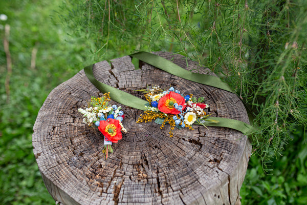 Folk wedding belt Bridal flower sash Folk wedding Poppy flower belt Magaela accessories Wedding accessories Handmade Colourful Blueberries