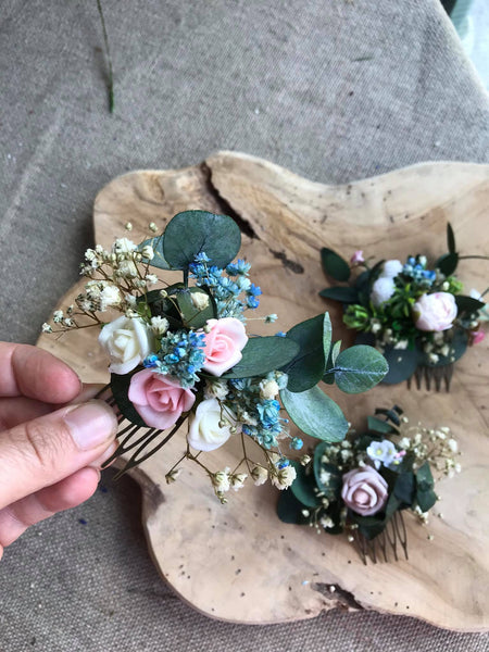 Blush and ivory mini flower hair comb Wedding eucalyptus hair comb Bridal accessories Pink Flower hair comb Greenery comb Magaela Natural