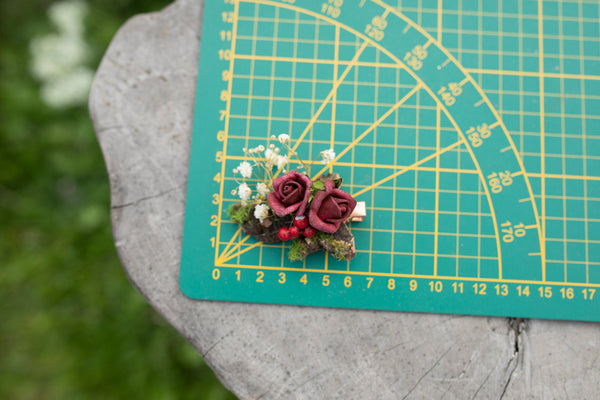 Wedding burgundy flower hair clip Bridal accessories Baby's breath clip Magaela accessories Wedding flower clip Red wine hair piece Handmade