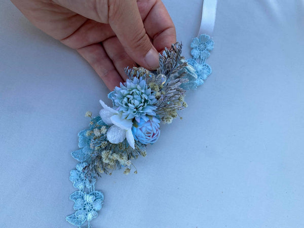 Blue wedding floral belt Simple flower belt Wedding accessories Magaela accessories Handmade product Belt for brides Bridal sash Handmade