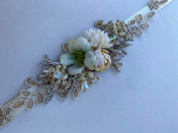 Nude wedding floral belt Simple flower belt Wedding accessories Magaela accessories Handmade product Belt for brides Bridal sash Handmade