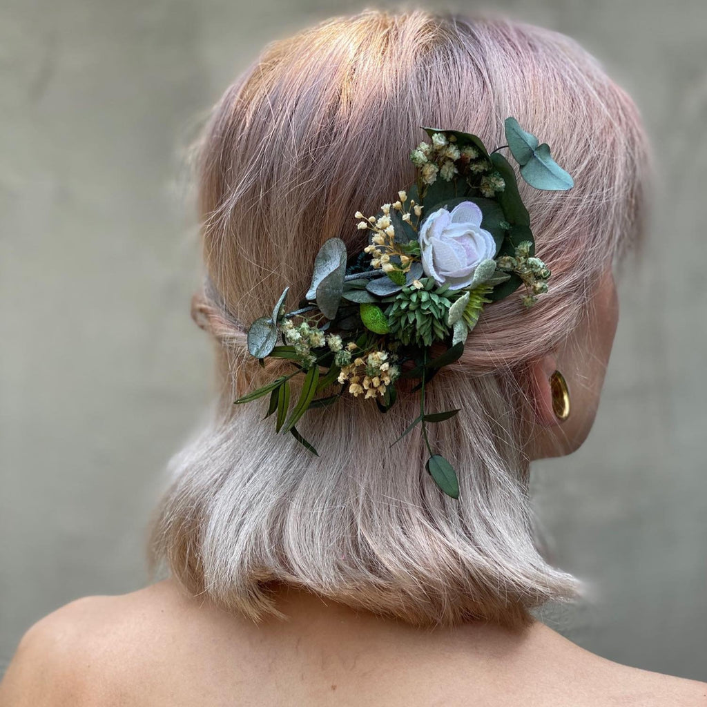 Greenery wedding hair comb Baby's breath bridal hair comb Flower hair clip for bride Magaela accessories Wedding accessories Blumenkamm
