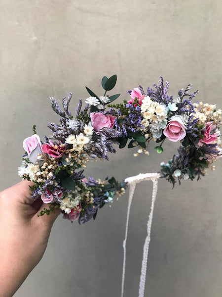 Boho wedding flower wreath Wedding jewellery Bridal accessories Magaela Wedding flower comb Boho wedding Bride to be Handmade flower crown