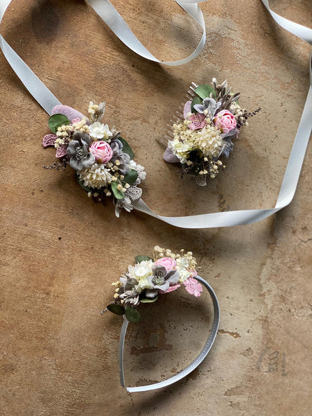 SALE Pastel flower headband Bridal hairband Pink Ivory Grey flower hairband Romantic wedding Magaela accessories Hair jewellery Handmade