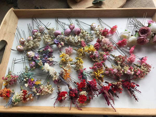 Bridal blush and ivory hair pins Dried flower hair pins Wedding flower pins Dusty pink flower pins Handmade baby's breath pins