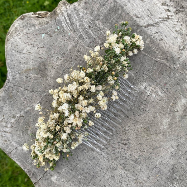 Ivory wedding flower comb Beige bridal hair comb Decorative baby's breath comb Flower accessories Magaela Preserved flowers Bridal comb