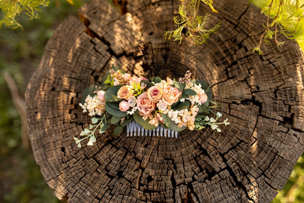 Flower peach and blue hair comb Wedding hair comb Magaela accessories Boho wedding Hair accessories Bridal flower comb Pastel hair comb