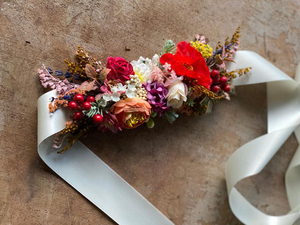 Colorful summer belt Wedding belt Bridal accessories Wild flower belt with colorful flowers Floral belt on satin ribbon Belt on dress