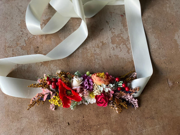 Colorful summer belt Wedding belt with poppy flowers Bridal accessories Wild flower belt with colorful flowers Floral belt on satin ribbon