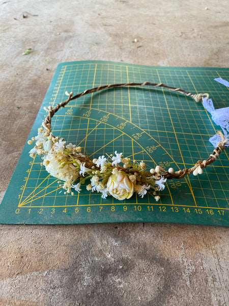 Ivory flower crown for mummy and daughter Beige Flower hair accessories Mother and daughter wreath Children's hair wreath Magaela
