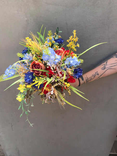 Meadowy folk wedding bouquet Bridal bouquet Flower Bridal Bouquet Rustic Bouquet Bridesmaid Bouquet Artificial Bouquet Magaela accessories