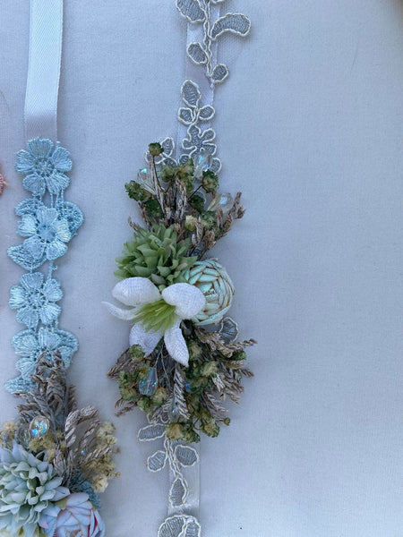 Greenery wedding floral belt Simple flower belt Wedding accessories Magaela accessories Handmade product Belt for brides Bridal sash