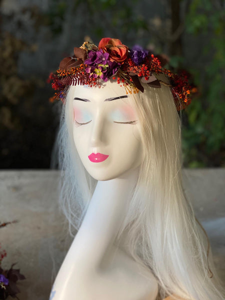 Wedding set Flower bridal set Wedding inspiration Unique hair wreath Bride to be Wedding bouquet Autumn wedding Magaela accessories Handmade