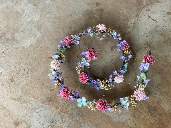 Purple and pink wedding garland Floral garland Hair garland Wedding accessories Hair jewelry Bridal garland Hair wreath Hair accessories