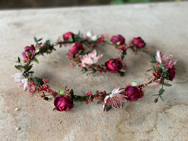 Burgundy wedding garland Floral garland Hair garland Wedding accessories Hair jewelry Red wine Bridal garland Hair wreath Hair accessories