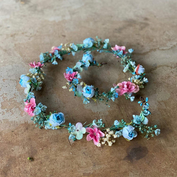 Blue and pink wedding garland Floral Hair garland Wedding accessories Hair jewelry Hair flowers Bridal garland Hair wreath Hair accessories