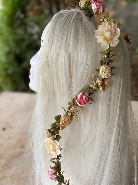 Romantic wedding garland Ivory Floral hair garland Wedding accessories Hair jewelry Hair flowers Bridal garland Hair wreath Hair accessories