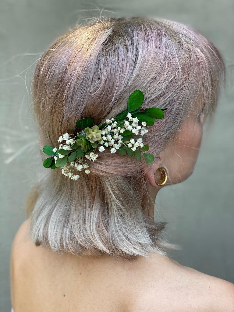 Greenery wedding hair comb with succulents Flower bridal hair comb Baby's  breath Bride Magaela accessories Wedding accessories Blumenkamm