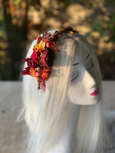 Red flower headband Wedding flower hairband Bridal accessories Burgundy headband for bride Magaela accessories Bridal headband Headpiece