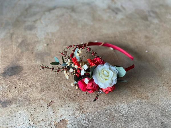 Red and white flower headband Wedding flower hairband Bridal accessories Headband for bride Magaela accessories Bridal headband Headpiece