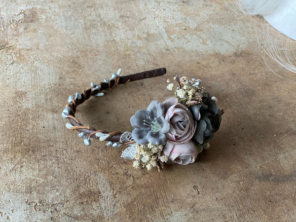 SALE Pastel blush and grey headband Wedding flower hairband bridesmaid accessories Magaela wedding accessories Blumen haarband Bridal accessories