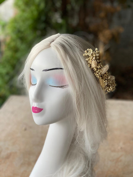 Beige wedding hair comb Bridal flower comb natural hair comb for bride Ear of wheat flower comb Ivory bridal comb Magaela accessories