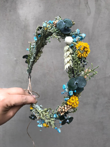 Natural blue and yellow wedding wreath Ear of wheat crown Meadow wedding style crown Bridal hair accessories Magaela Greenery hair crown