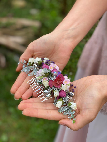 Romantic wedding hair comb Blumen haarkamm Bridal hair comb Flower hair comb Blush Dark pink bridesmaid hair comb Prom flower comb Magaela