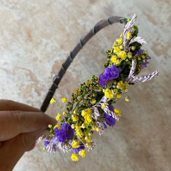 Yellow and purple wedding headband Flower hairband Meadow wedding Violet Baby's breath headband Natural wedding Fower head piece Magaela