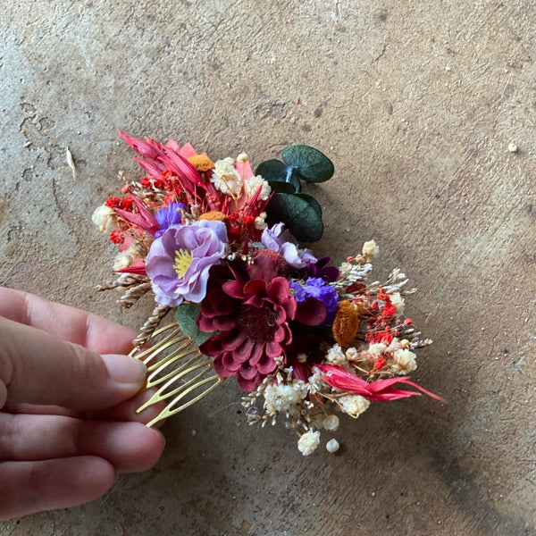 Autumn wedding hair comb Bridal flower comb Wedding hair accessories Red flower comb Burgundy Purple accessories Decorative hair comb Fall